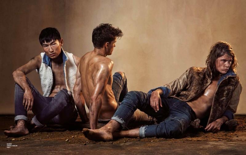 Sang Woo Kim, Chris Doe and James Phillip go rugged in Balmain denim.