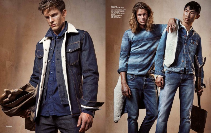 Pictured left, Chris Doe wears a denim ensemble from Nudie Jeans. Showcasing more looks from the brand, James Phillips and Sang Woo Kim are photographed right.