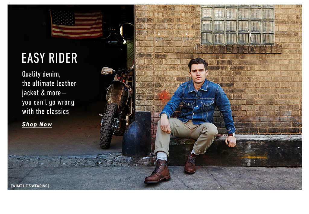Easy Rider: East Dane Features Classic Denim & Leather Fashions