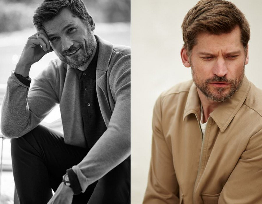Left: Nikolaj Coster-Waldau wears wool cardigan Hardy Amies, polo shirt John Smedley and chinos Canali. Right: Nikolaj Coster-Waldau wears jacket Dries Van Noten.