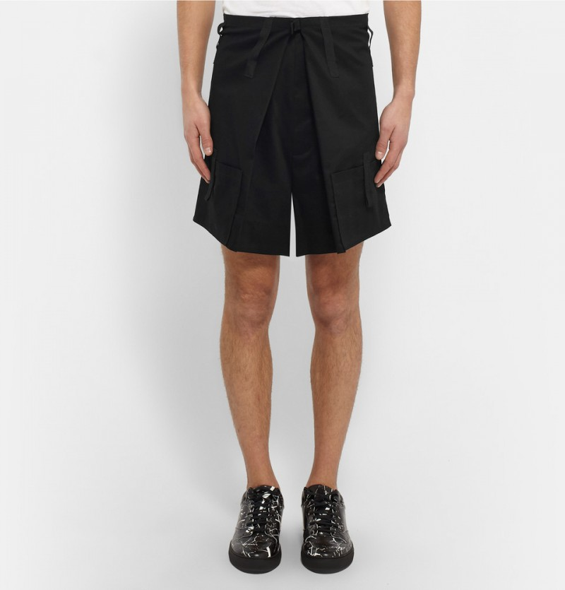 Raf Simons Wide Leg Cotton Shorts