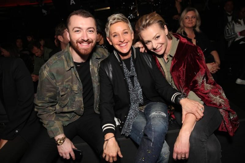 Sam Smith, Ellen DeGeneres and Portia de Rossi at Saint Laurent's fall-winter 2016 show in Los Angeles, California.