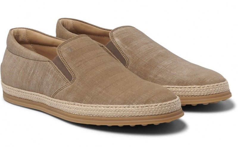 Tod's Jute Trimmed Canvas Slip-on Sneakers