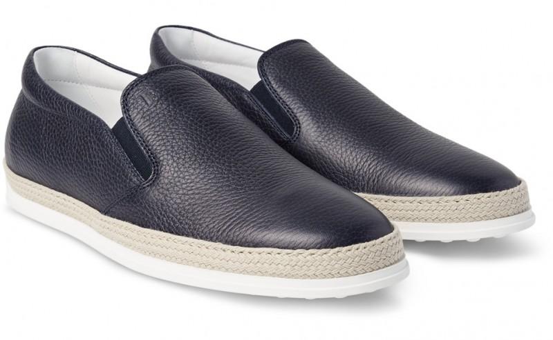 Tod's Raffia Trimmed Full Grain Leather Slip-on Sneakers
