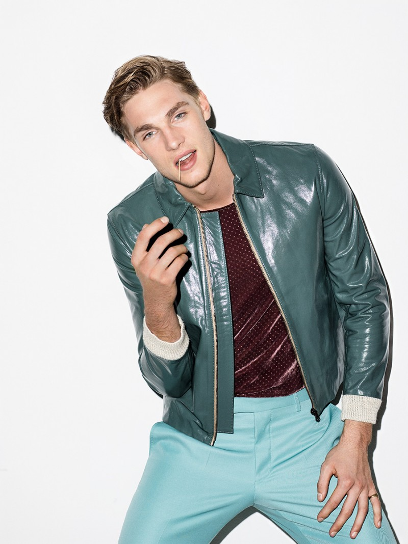 Tommy Marr embraces a pop of color in a leather jacket from Acne Studios.