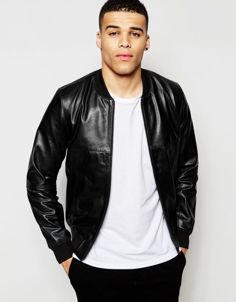 ASOS Men's Faux Leather Bomber Jacket