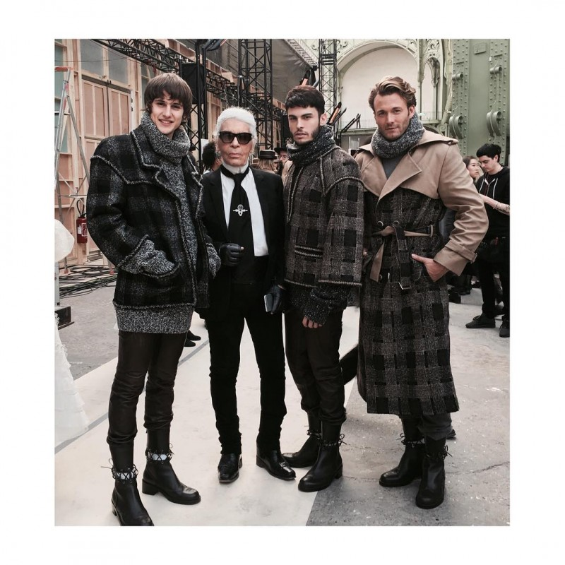 Julian De Gainza, Baptiste Giabiconi and Brad Kroenig join Karl Lagerfeld for a picture.