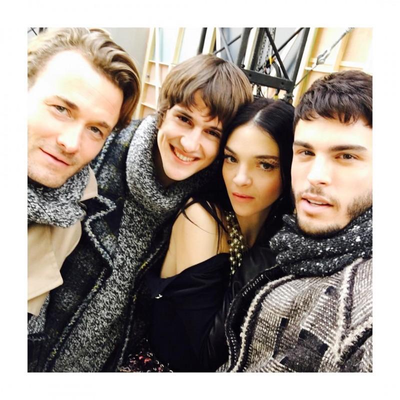 Brad Kroenig, Julian De Gainza, Mariacarla Boscono and Baptiste Giabiconi pose for a picture.