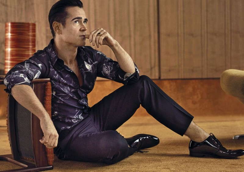 Colin Farrell poses for a photo in smart tailoring from Dolce & Gabbana.