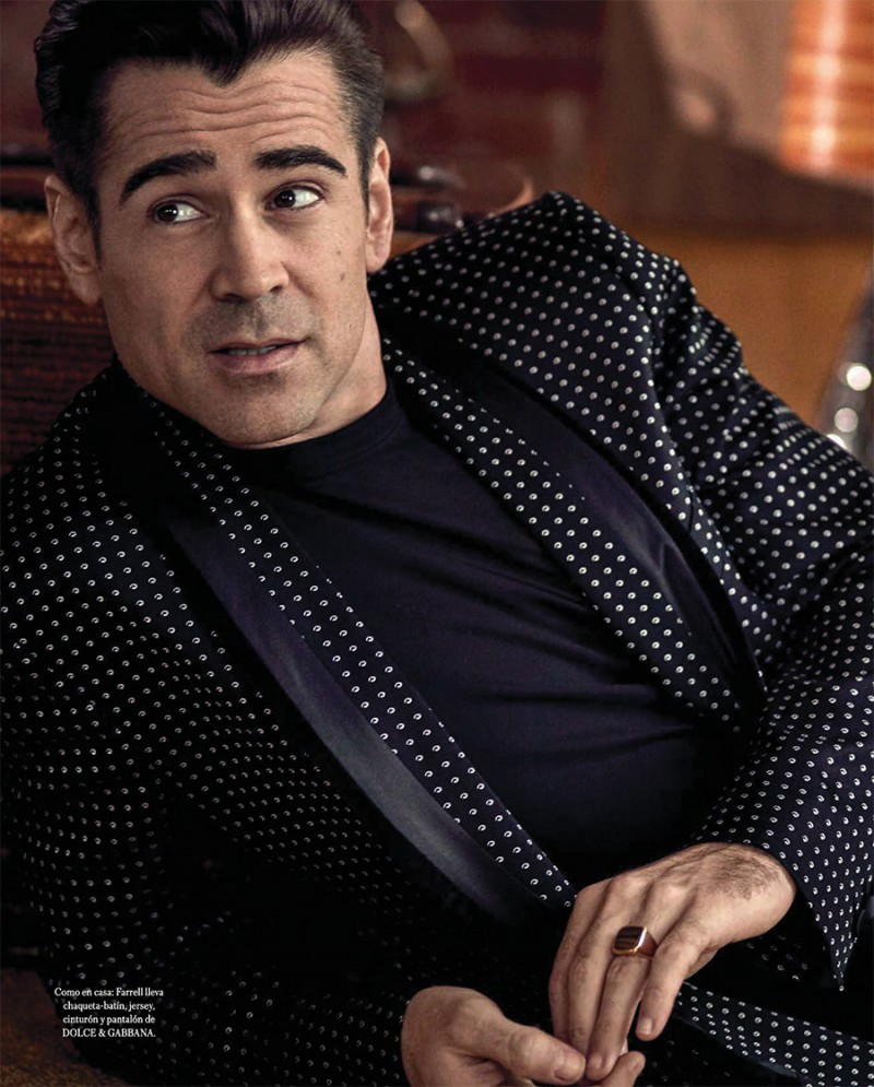 Clad in Dolce & Gabbana, Colin Farrell charms in a relaxed image.