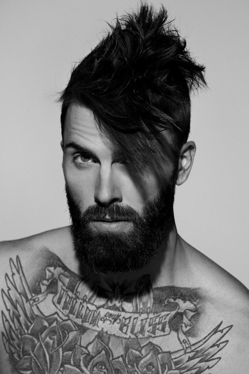 Levi Stocke embraces an edgy stylized hairstyle.