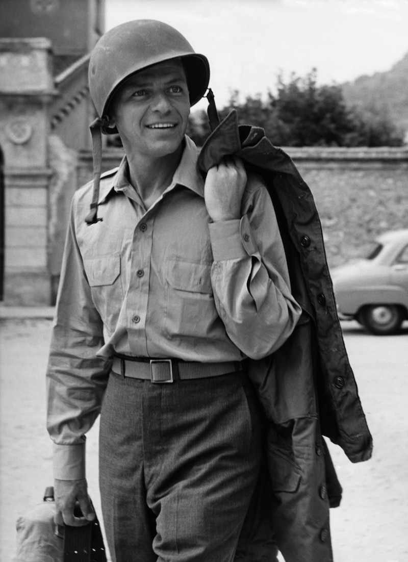 Frank Sinatra sports an army uniform for a promo image from the 1958 film Kings Go Forth.
