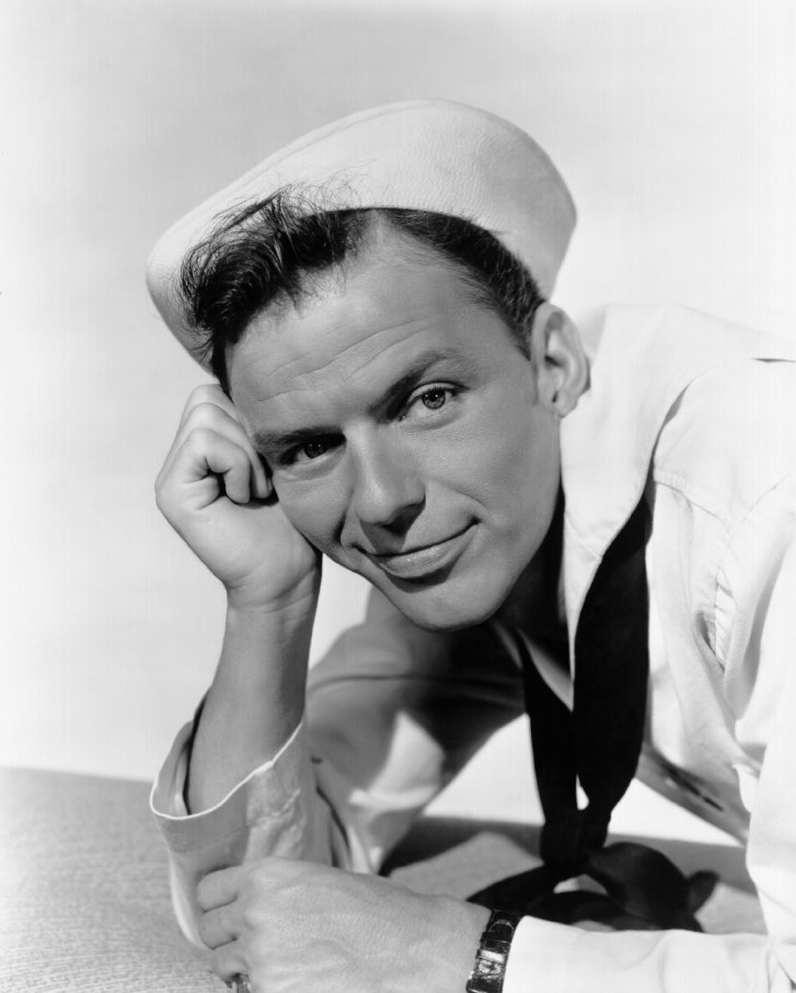 Channeling his inner sailor, Frank Sinatra poses for a promo image from the 1945 film Anchors Aweigh.