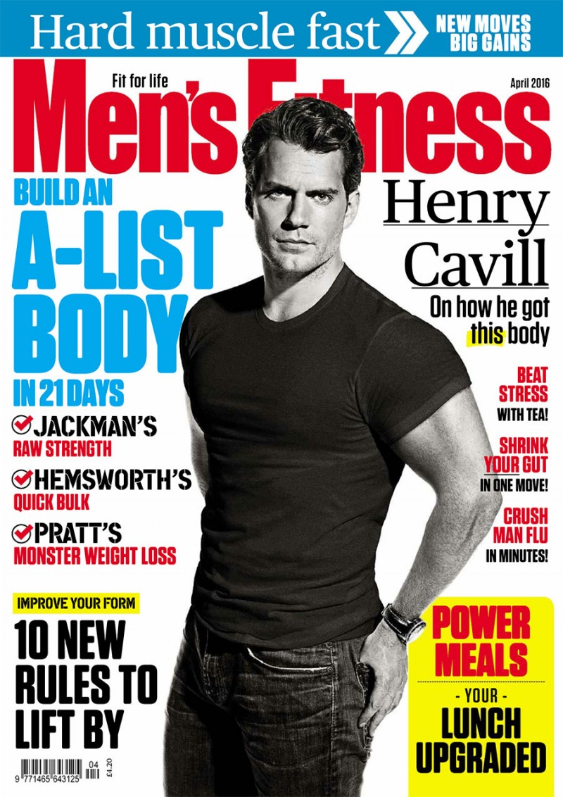 77f3c05c09a Henry Cavill covers the April 2016 issue of Men s Fitness UK.