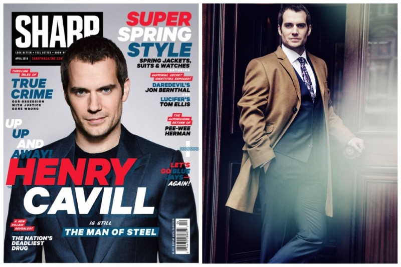 Henry Cavill covers the April 2016 issue of Sharp magazine.