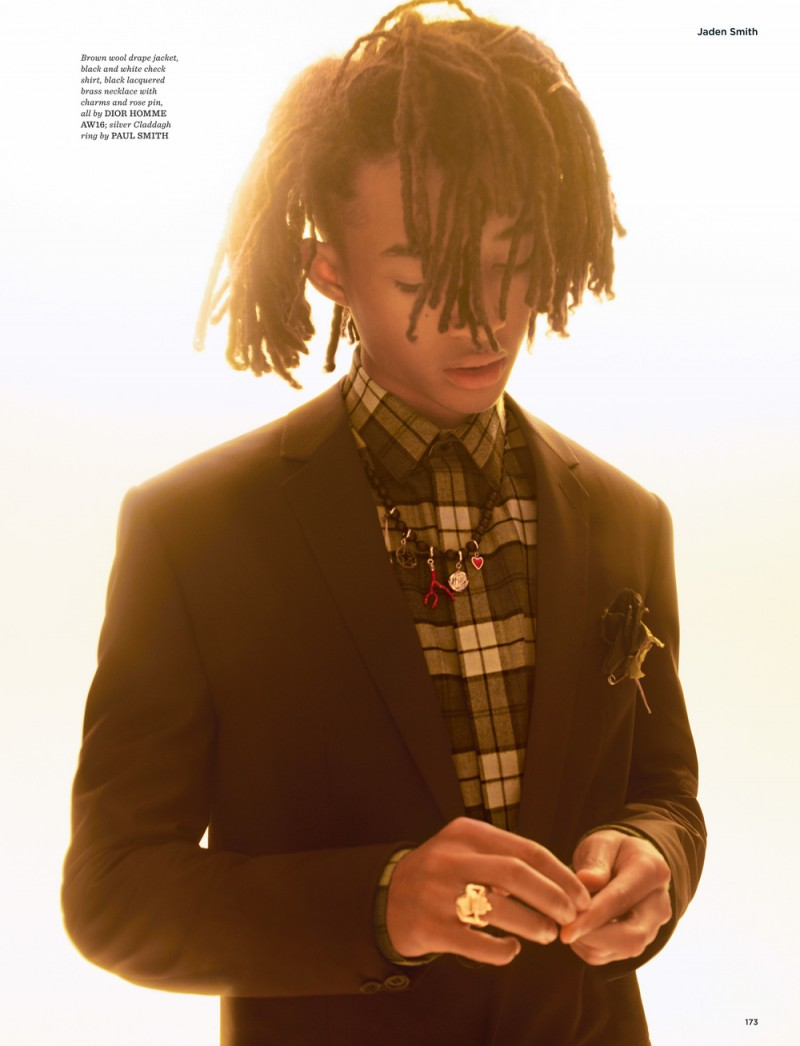 Photographed for British GQ Style, Jaden Smith wears all clothes Dior Homme.