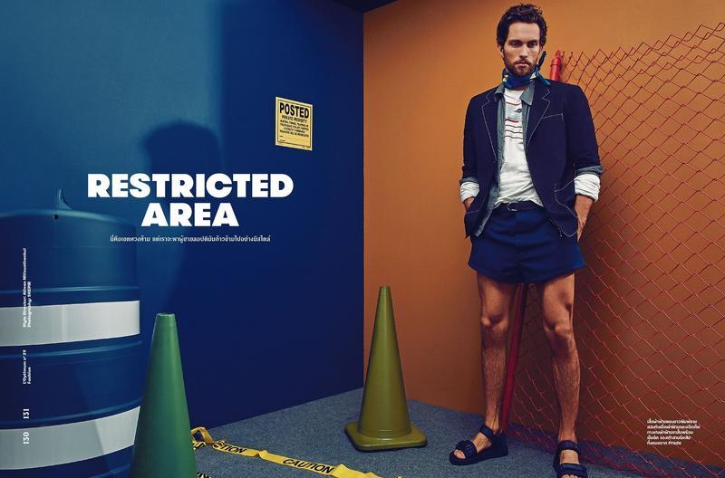 Tobias Sorensen wears spring-summer 2016 fashions from Prada for L'Optimum Thailand.