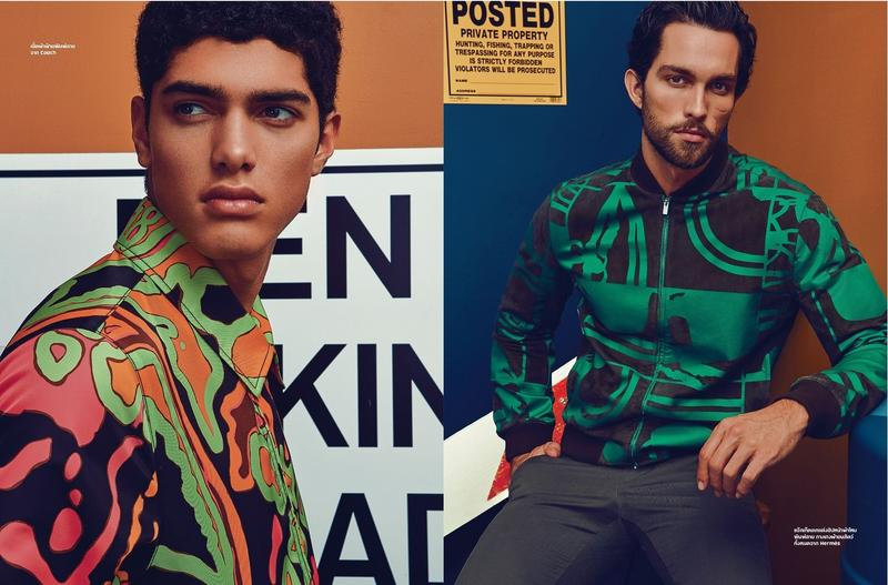 Torin Verdone and Tobias Sorensen embrace colorful hues for a playful fashion selection from L'Optimum Thailand.