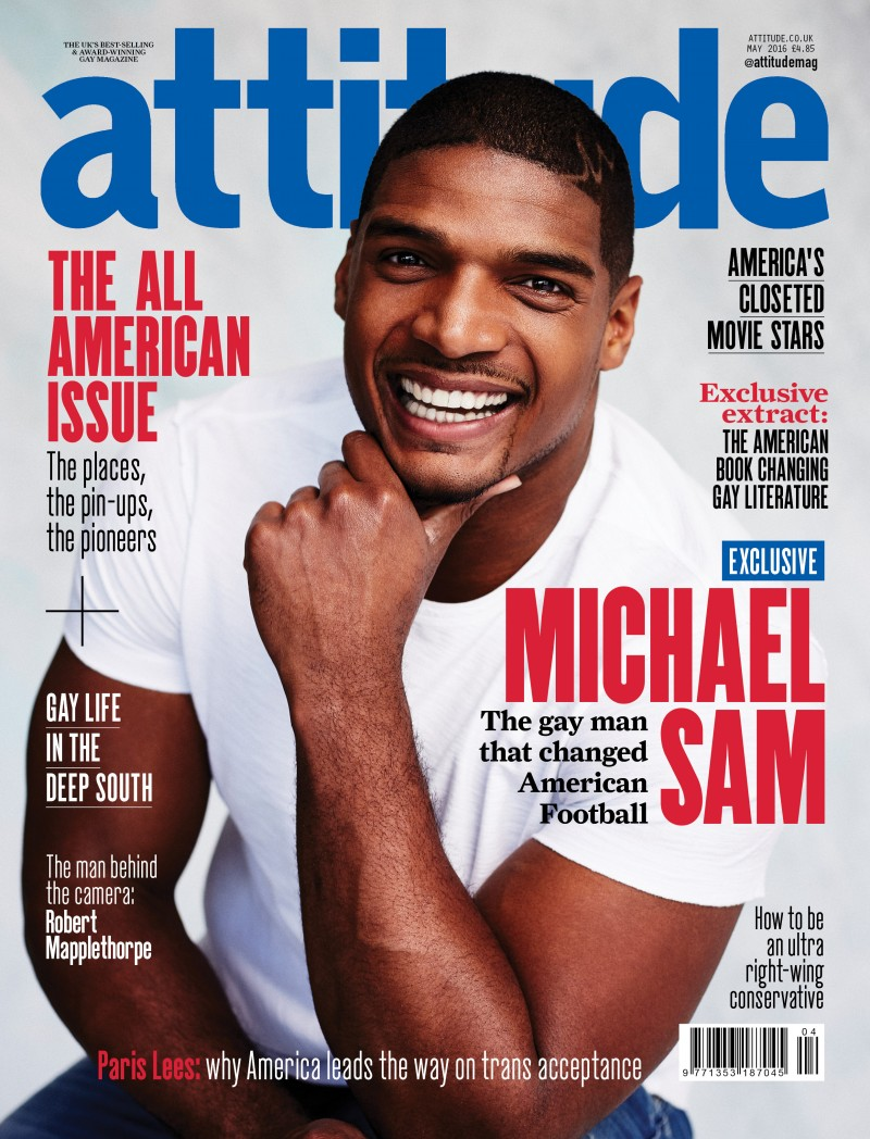 Michael Sam covers the May 2016 issue of Attitude magazine.