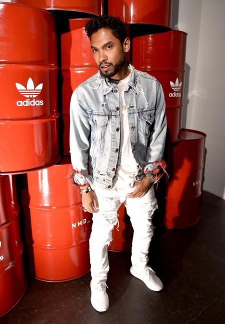 Miguel Rocks Frayed Denim at Adidas Originals NMD Concert