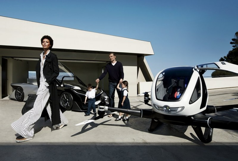 Joan Smalls and Nikolaj Coster-Waldau get the kids ready for school in this futuristic photo.
