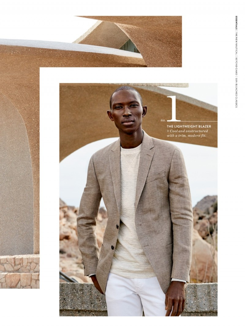 Armando Cabral wears a linen blazer from Todd Snyder with AG straight leg chinos.