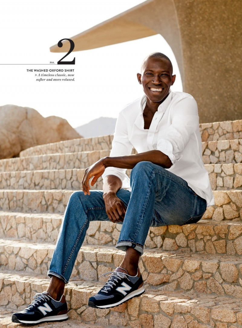 Armando Cabral is all smiles in a Nordstrom oxford shirt with Rag & Bone denim jeans and New Balance sneakers.