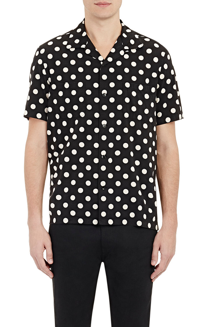 Saint Laurent Men's Polka Dot Shirt
