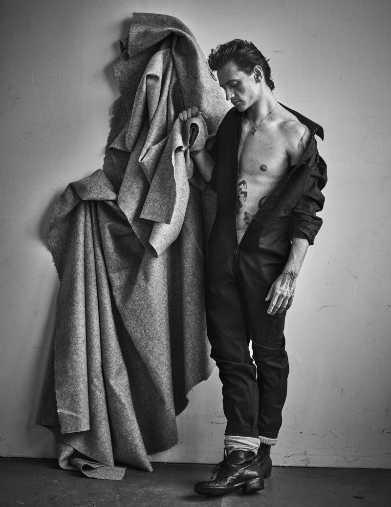 Sergei Polunin sports a jumpsuit for a shoot featured in Vogue Hommes Paris.