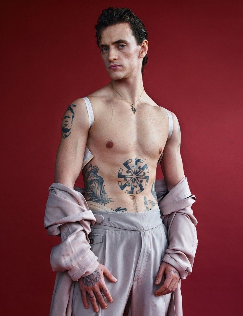 Sergei Polunin embraces pale greys in a feature for Vogue Hommes Paris.