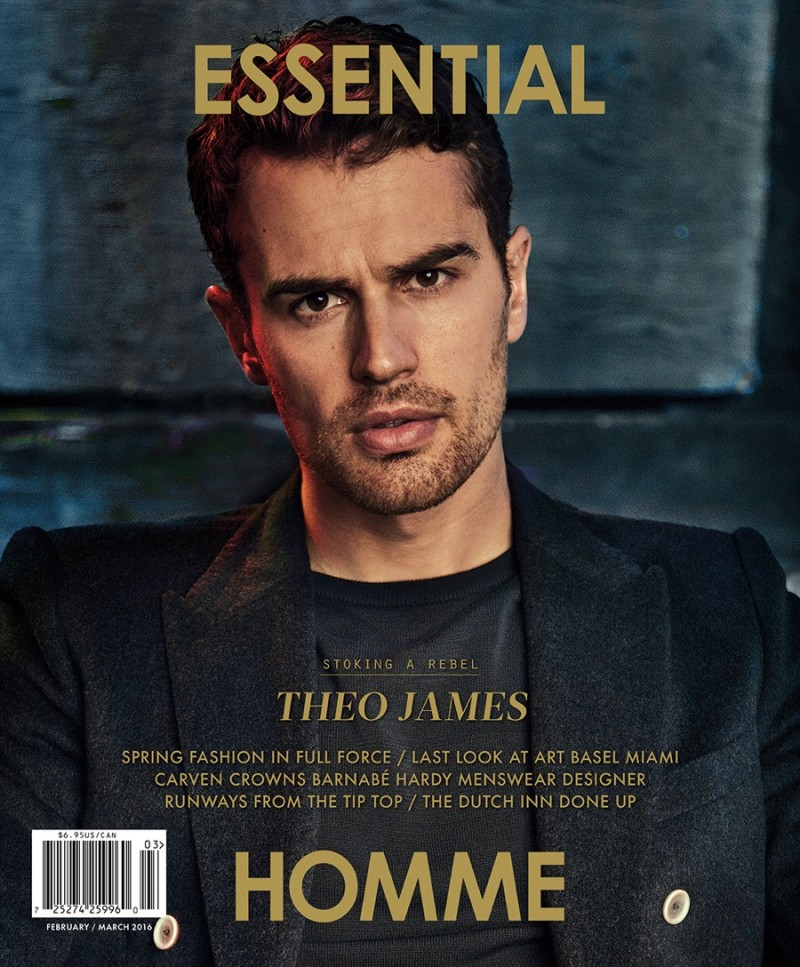 Theo James covers the February/March 2016 issue of Essential Homme.