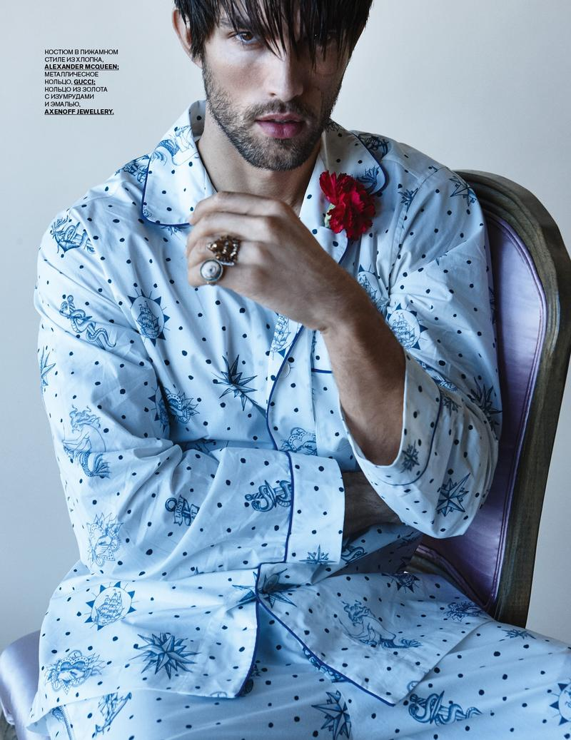 Tobias Sorensen embraces the pajama trend in a printed number from Alexander McQueen.