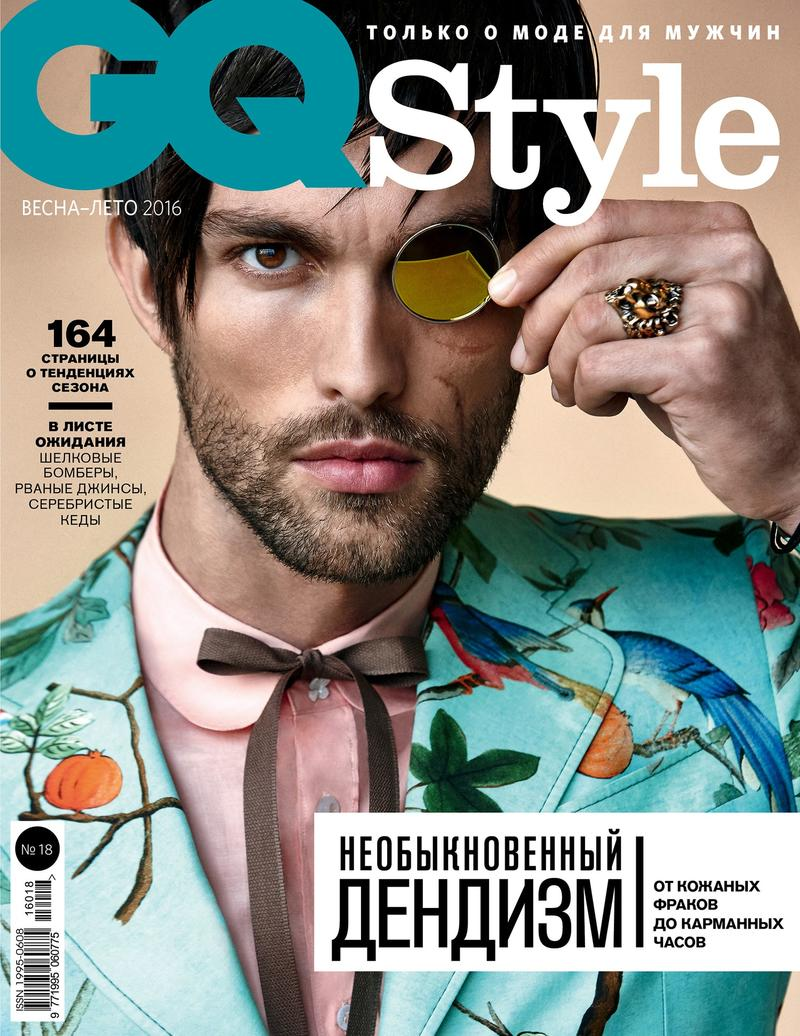 Tobias Sorensen covers the spring-summer 2016 issue of GQ Style Russia in a look from Gucci.