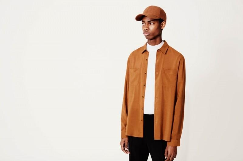 Topman Premium Skinny Chinos, Wool Blend Cap, Long Sleeve Shirt and Cotton T-Shirt.