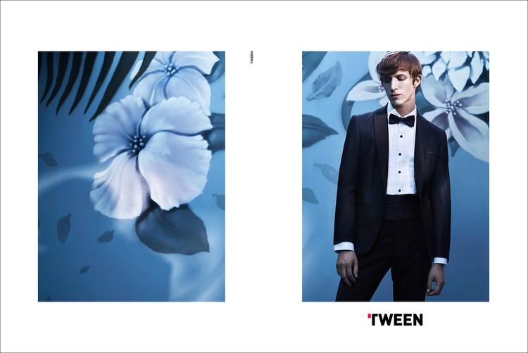 Xavier Buestel dons a tuxedo for Tween's spring-summer 2016 campaign.