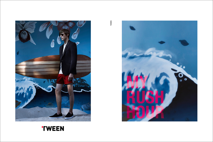 Xavier Buestel embraces a quirky look, wearing swim shorts with a tailored jacket.