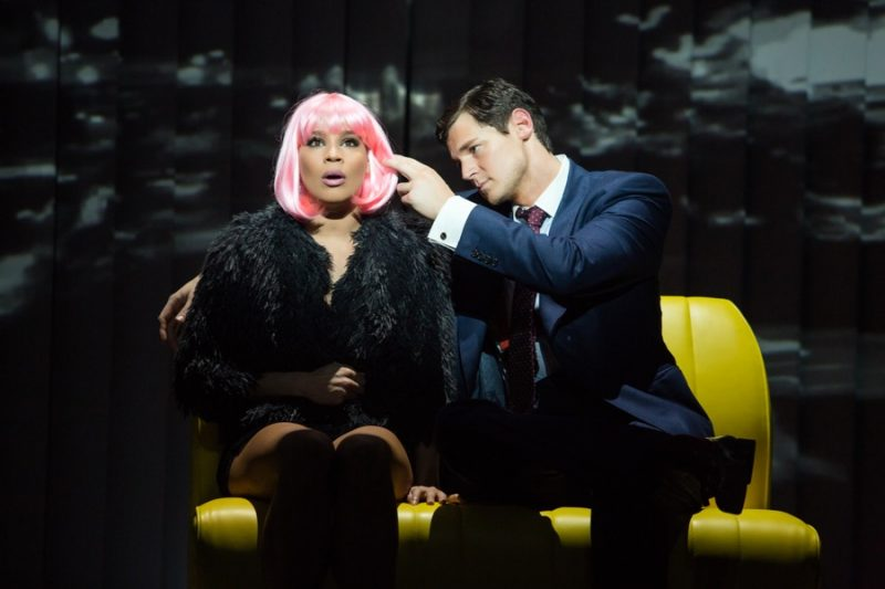Benjamin Walker as Patrick Bateman and Holly James as Christine in American Psycho: The Musical.