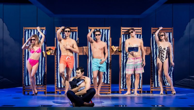 Colorful swimwear and cool sunglasses are on full display for a scene from American Psycho: The Musical.