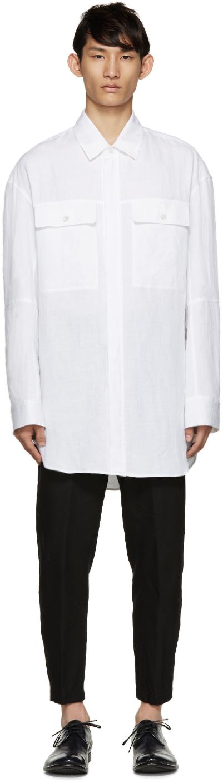 Ann Demeulemeester White Long Ribbed Shirt