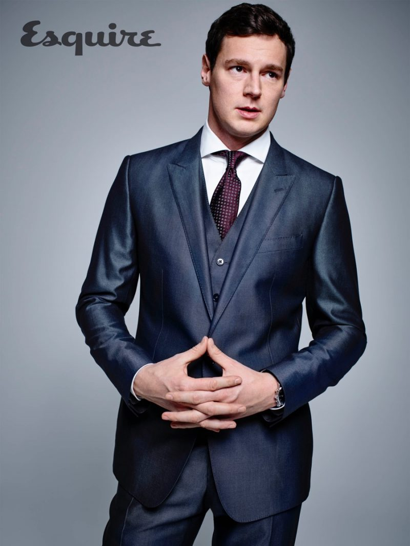 American Psycho: The Musical star Benjamin Walker pictured in a dapper three-piece suit for Esquire.