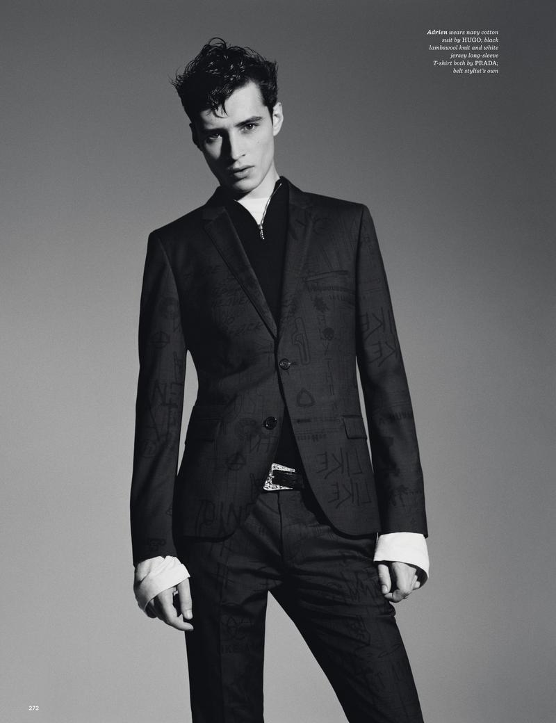 Adrien Sahores embraces a tonal graphic suit from HUGO by Hugo Boss.