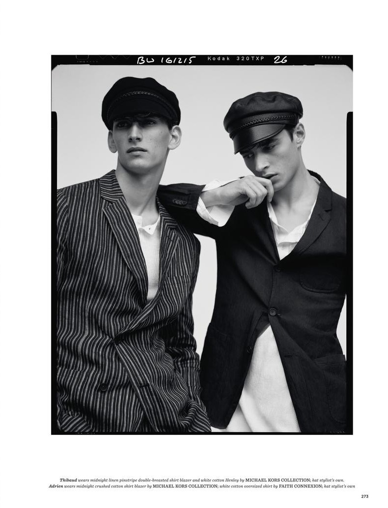 Thibaud Charon and Adrien Sahores accessorize their suits with leather driver caps.