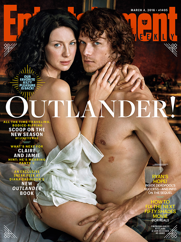 Outlander stars Caitriona Balfe and Sam Heughan pose for a steamy Entertainment Weekly cover.