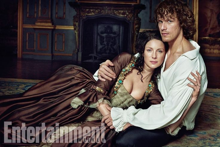 Caitriona Balfe and Sam Heughan pose in character for an Entertainment Weekly photo shoot, promoting Outlander.
