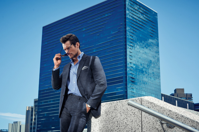 David Gandy is a suave vision in a charcoal suit for Marks & Spencer's spring-summer 2016 campaign.