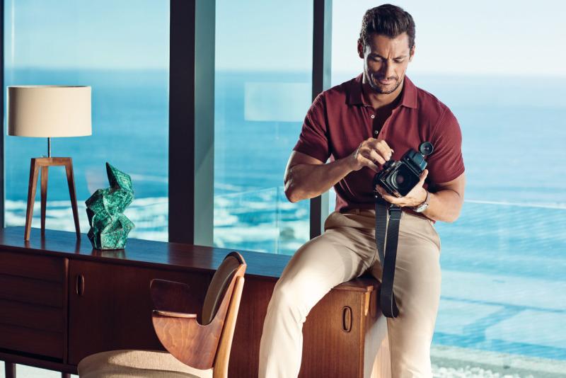 Captured indoors, David Gandy fiddles with a camera for Marks & Spencer's spring-summer 2016 campaign.