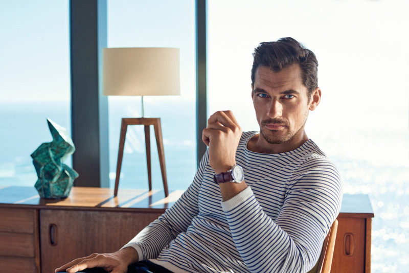 David Gandy goes casual in a long-sleeve striped top for Marks & Spencer's spring-summer 2016 campaign.