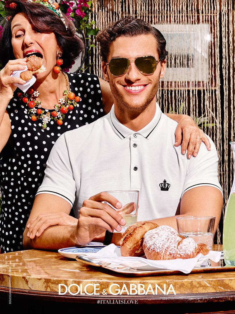 1a49106153 Aurelien Muller models sunglasses and a smart polo shirt for Dolce    Gabbana s summer 2016 eyewear