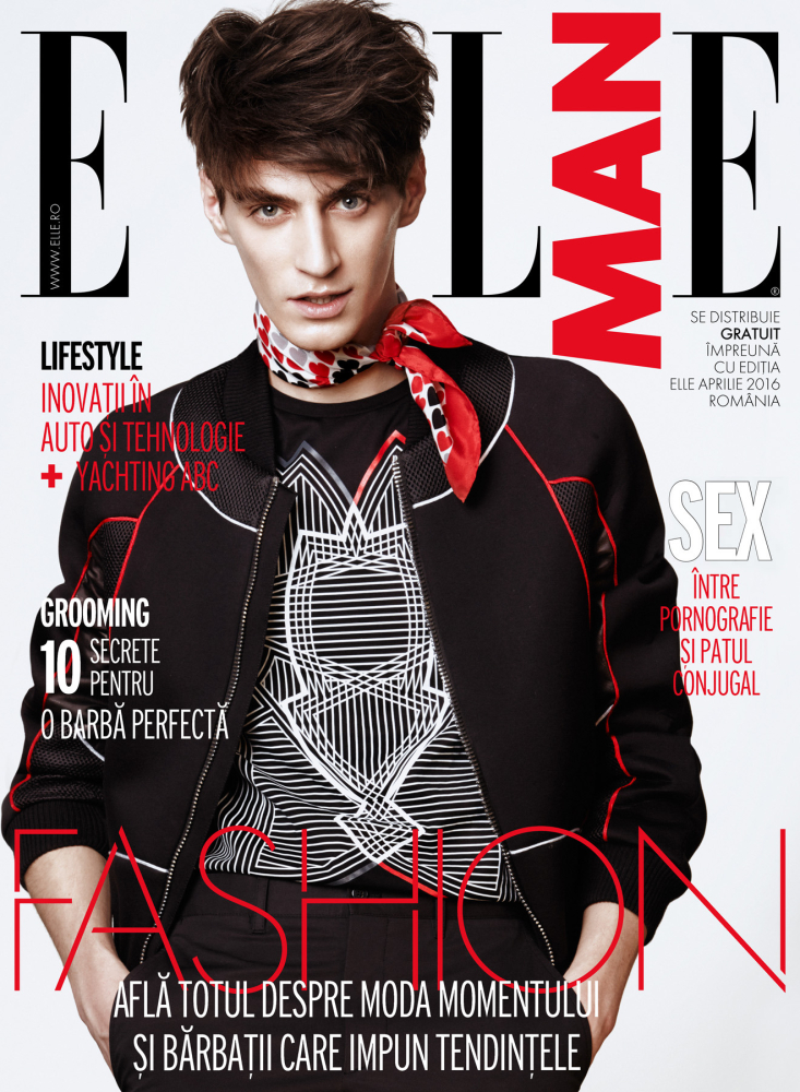 Mihai Bran covers the April 2016 issue of Elle Man Romania.