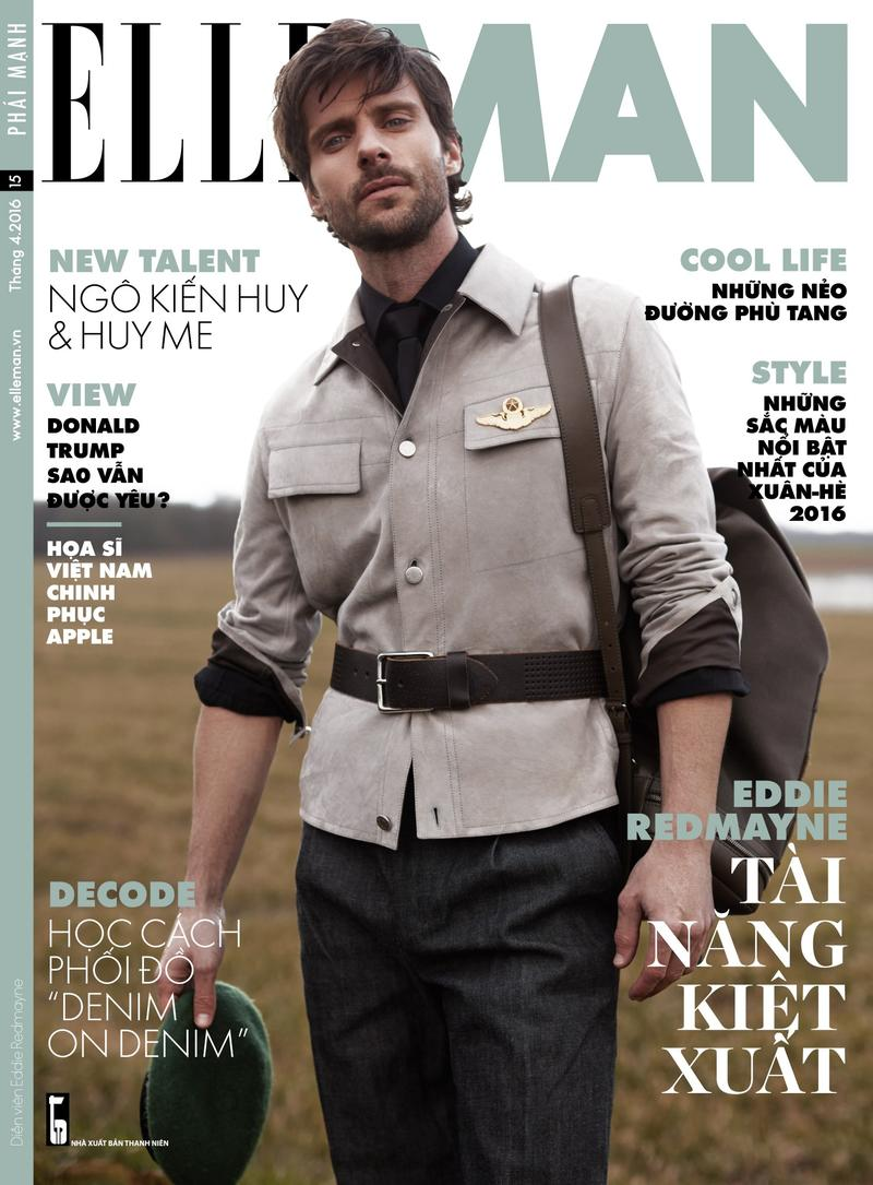 Embracing military style, model Tommy Dunn covers the April 2016 issue of Elle Man Vietnam.